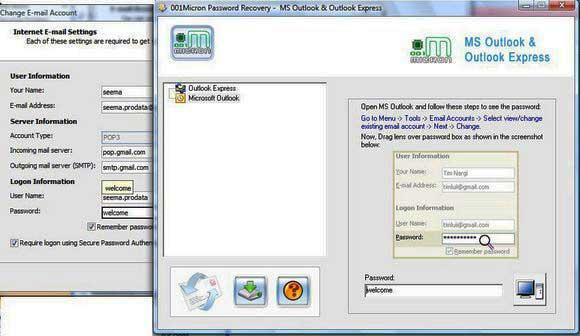 Restore Outlook Password screenshot